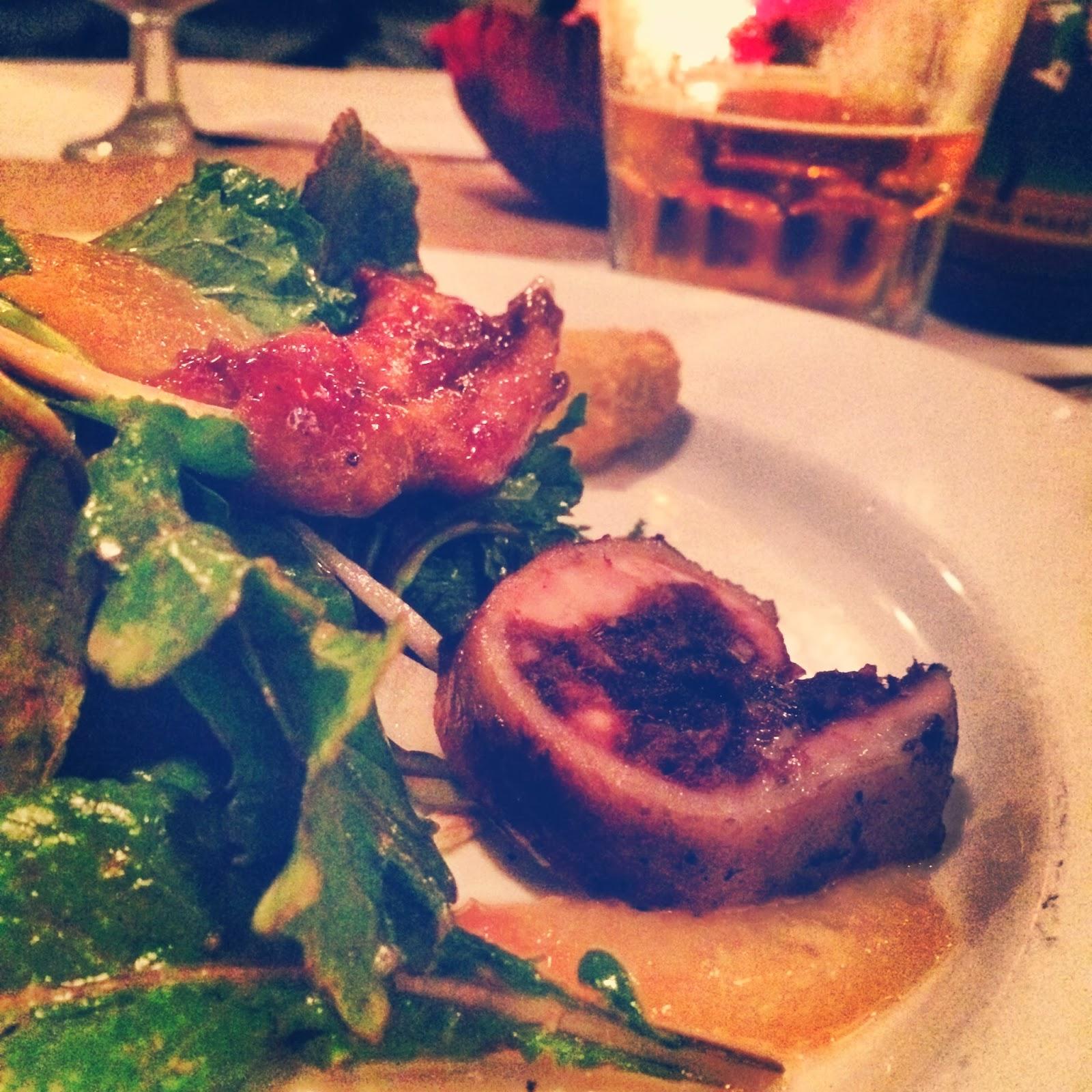 Babineaux's Boudin Noir Stuffed Quail Salad, Local Arugala, Citrus Vinaigrette, Fried Green Tomato Croutons,  Crispy Quail Legs