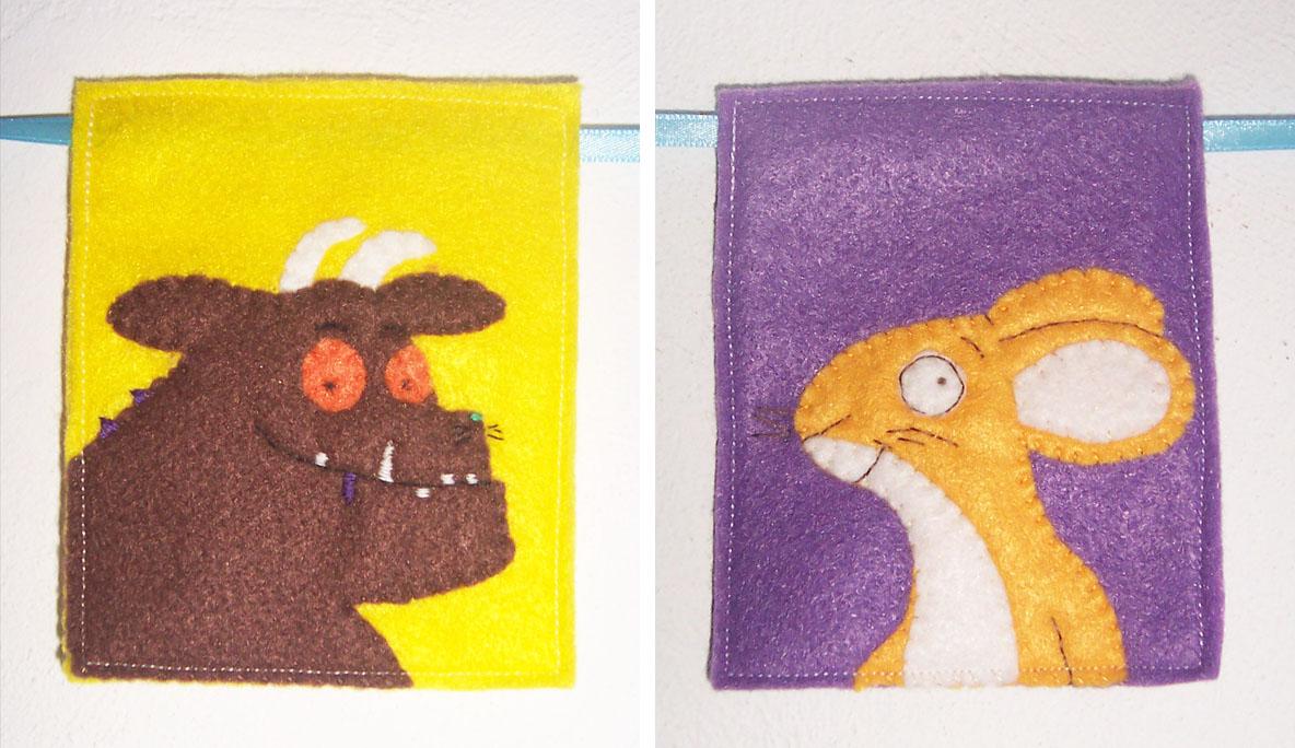 Gruffalo bunting handmade cuddles for Gruffalo fabric
