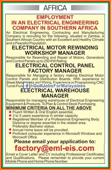 Electrical Company Jobs for Zambia, Africa - Gulf Jobs for ...