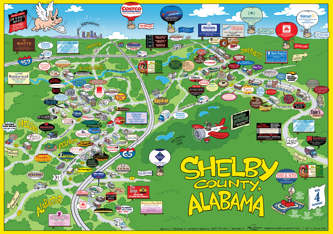 Salty 'Ham Jam: Cartoon Map Of Shelby County, Alabama