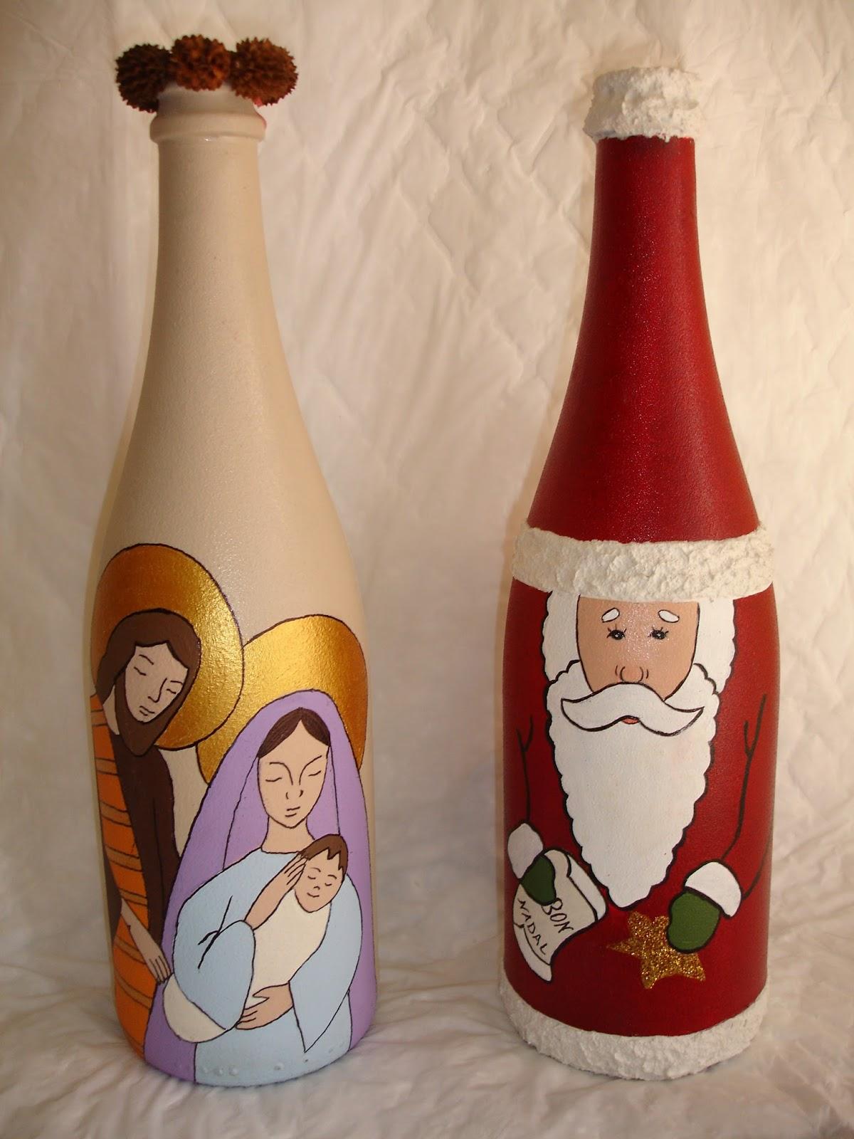 Las cositas de dopacio reciclando for Botellas de vidrio decoradas para navidad
