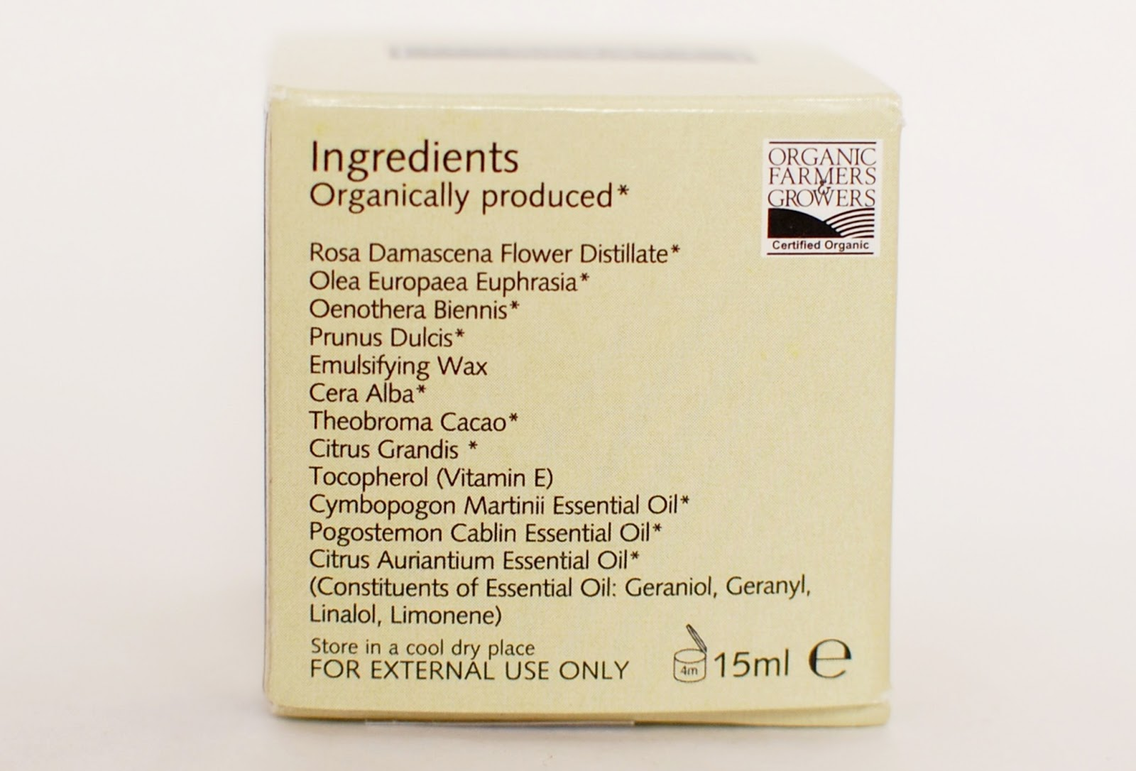 Trevarno Organic Eye Cream ingredients, sestavine
