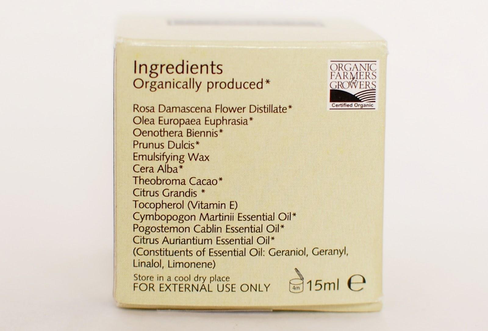 Trevarno Organic Eye Cream ingredients, sestavine