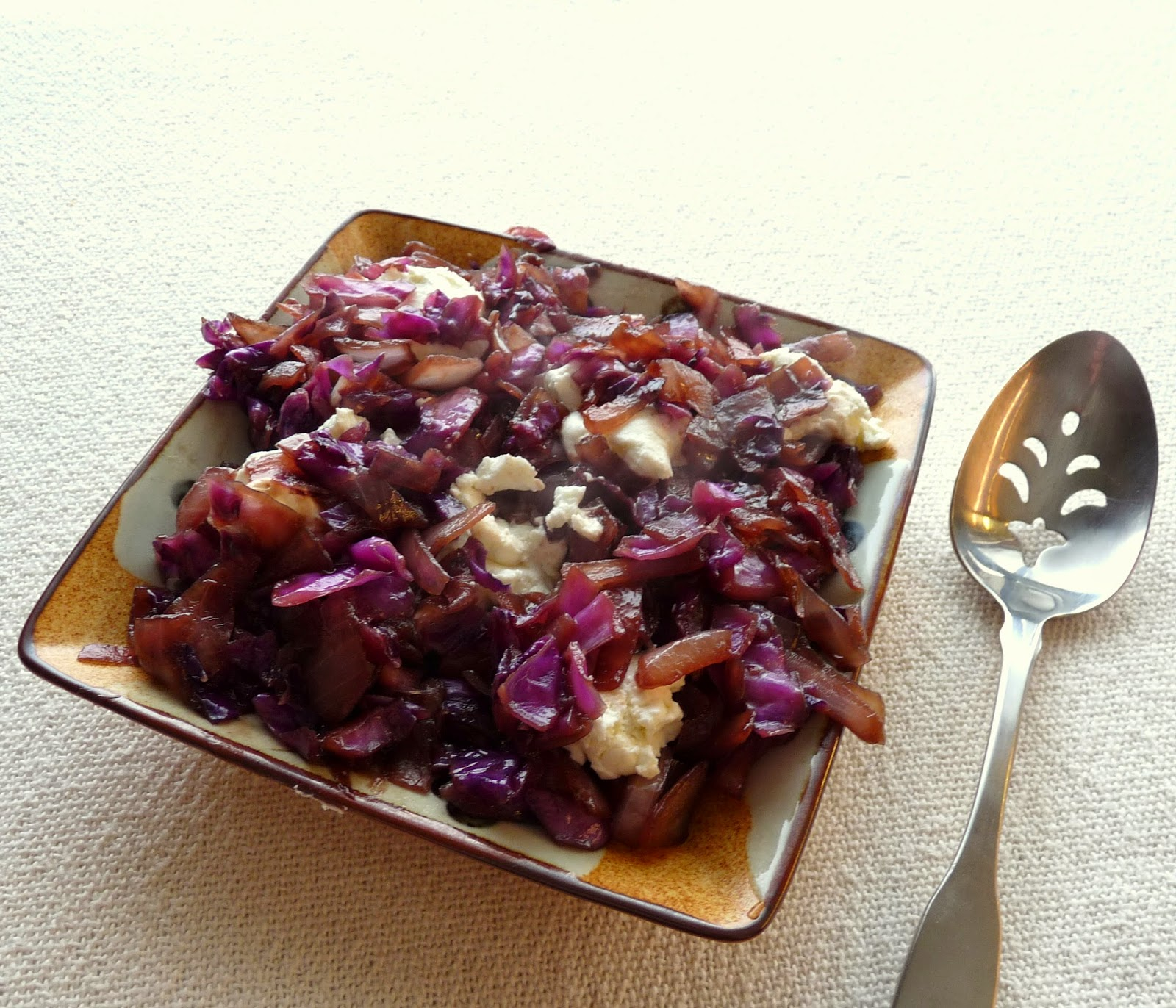 Braised Red Cabbage & Onion with Goat Cheese