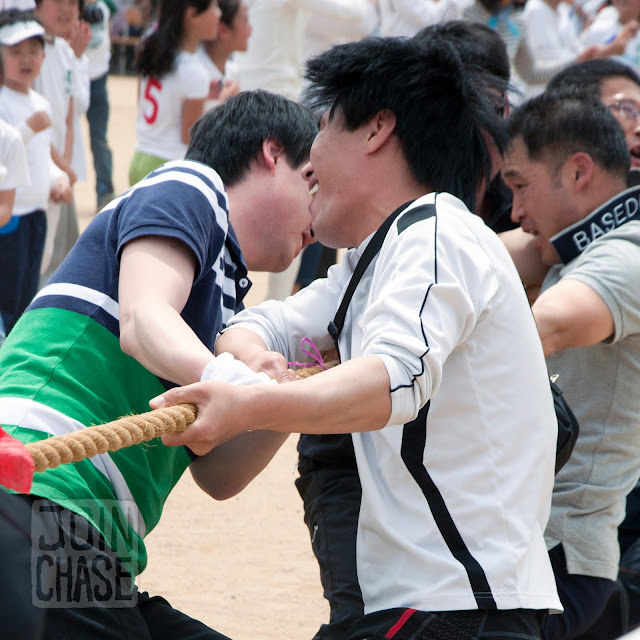 "Parents playing ""Tug of ""War"" during Sports Day at Bibong Elementary in Ochang, South Korea."