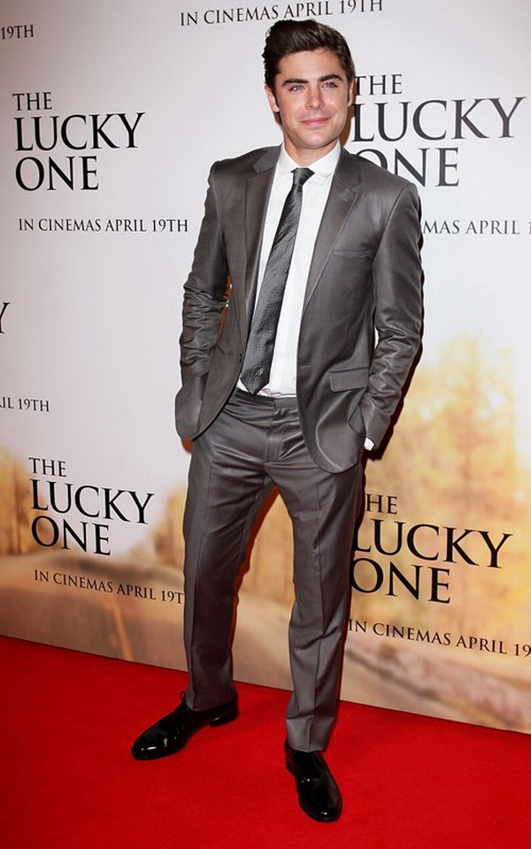 Sexy Prom Dress: Zac Efron wear gray suit with handsome hair present ...