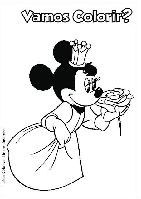 Minnie vestida de princesa para colorir