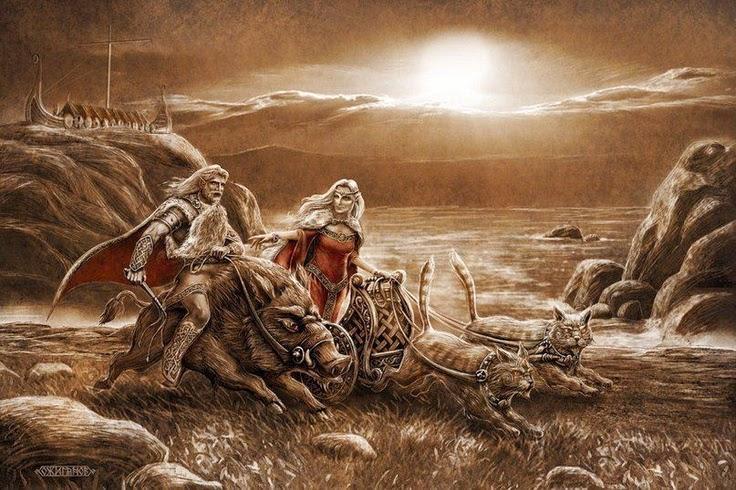 Image of Vanir twin gods Freyr and Freya War Goddess
