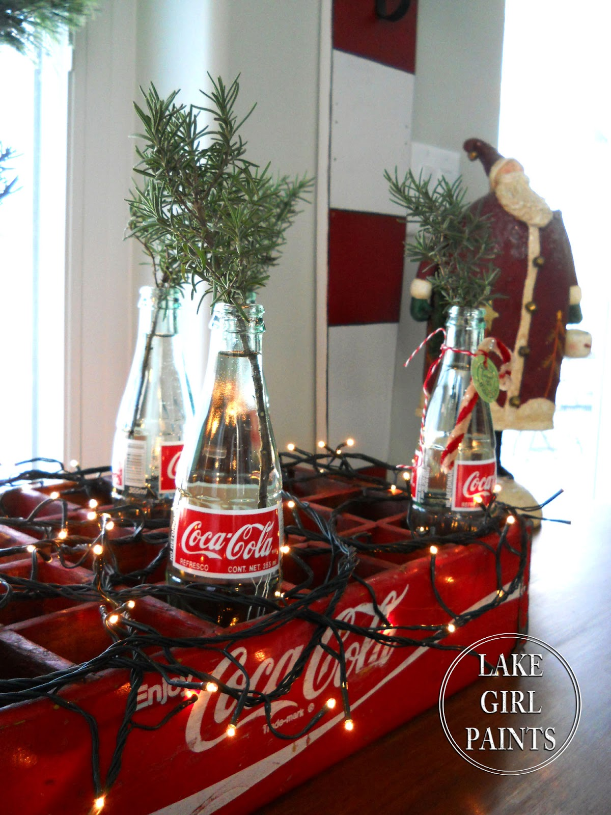 Lake Girl Paints: Coca-Cola Bottles with Rosemary Clippings