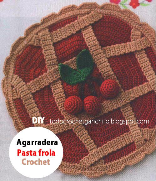 agarradera crochet con forma de pasta frola