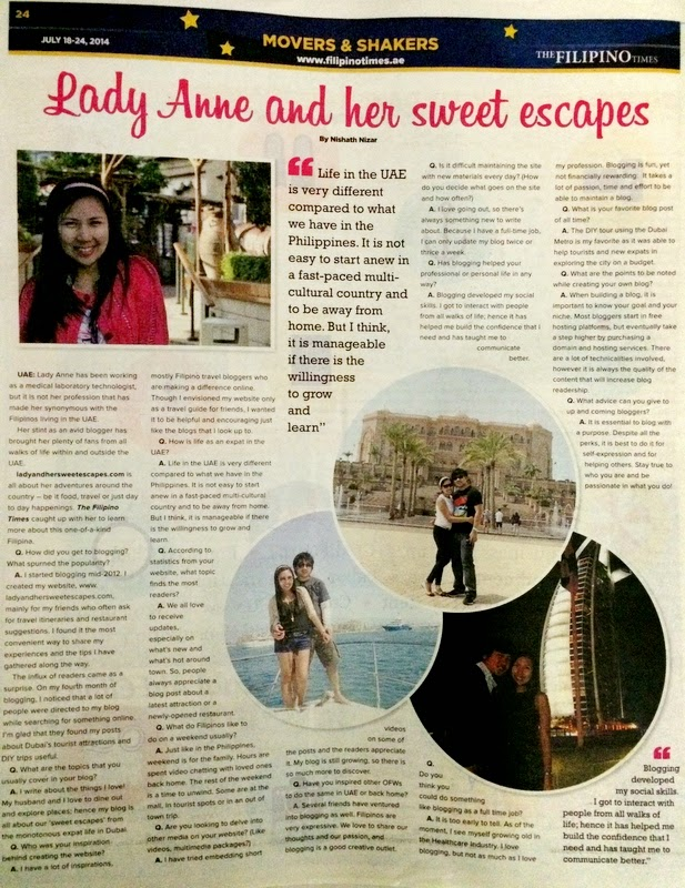 Lady and her Sweet Escapes featured in The Filipino Times