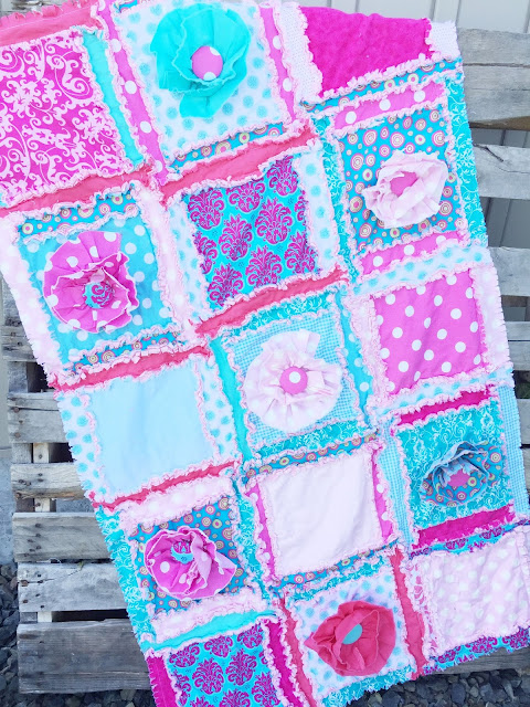 Ruffle Flower Rag Quilt in Pastel and Bright Colors by A Vision to Remember