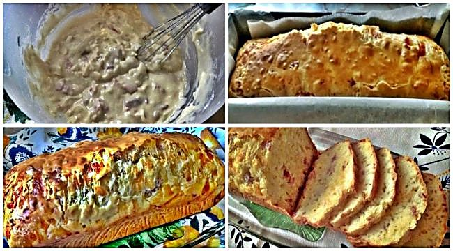 Preparación del bizcocho salado de queso y jamón serrano