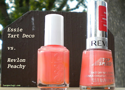 essie tart deco revlon peachy dupe bottle