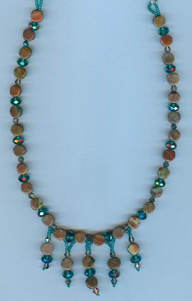 Brown Jasper and Teal Crystals Waterfall Line