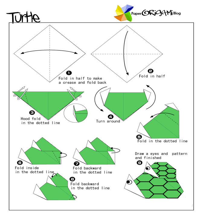Unique origami parent and child turtle paper origami guide