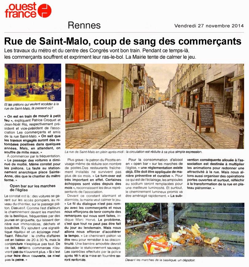 Rennes - Rue de Saint-Malo, coup de sang des commerçants