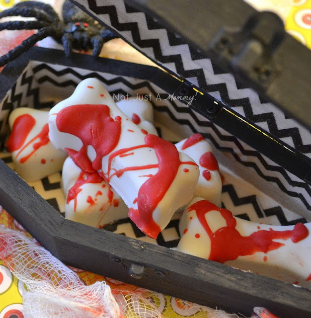 Wooden coffin treat boxes candy bones