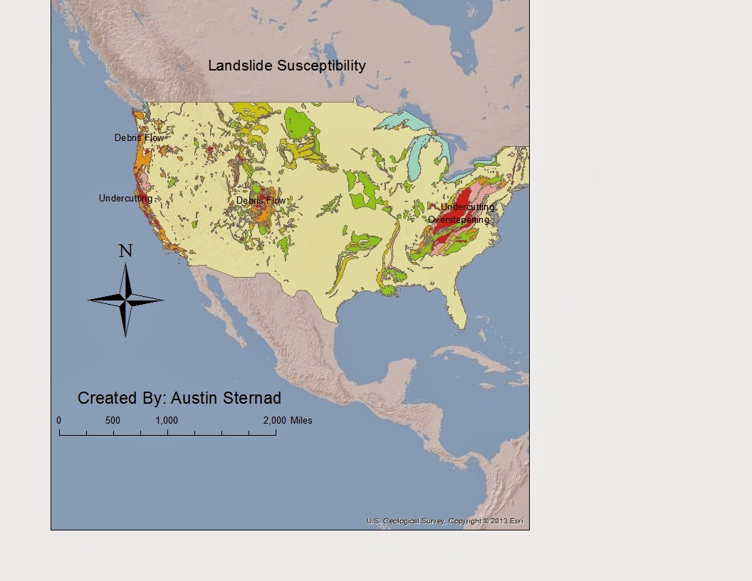 the map above shows different areas of the united states that are susceptible to landslides as the map shows the area most susceptible is the appalachian