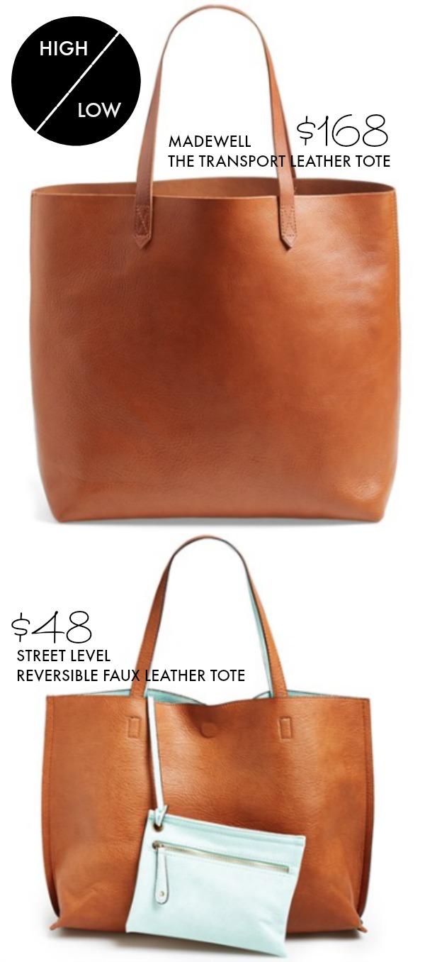 Reversible Vegan Leather Tote