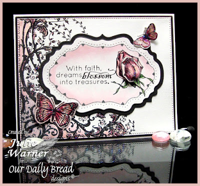 Our Daily Bread Designs Stamp sets: Blossom, Flourish Label Borders, Belles Vignes, Butterfly and Bugs, Trois Jolies Papillons, ODBD Custom Dies: Flourished Star Pattern, Vintage Flourish Pattern, Vintage Labels, Butterfly and  Bugs, Trois Papillons