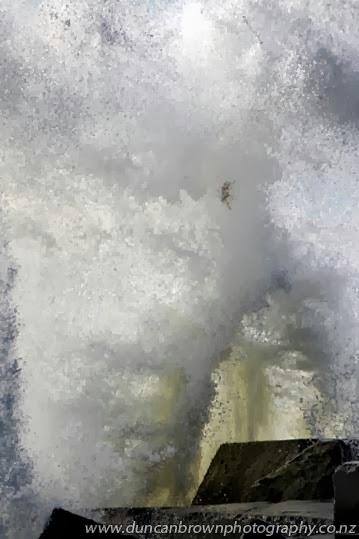Flying seaweed at the Haumoana groyne, Haumoana photograph