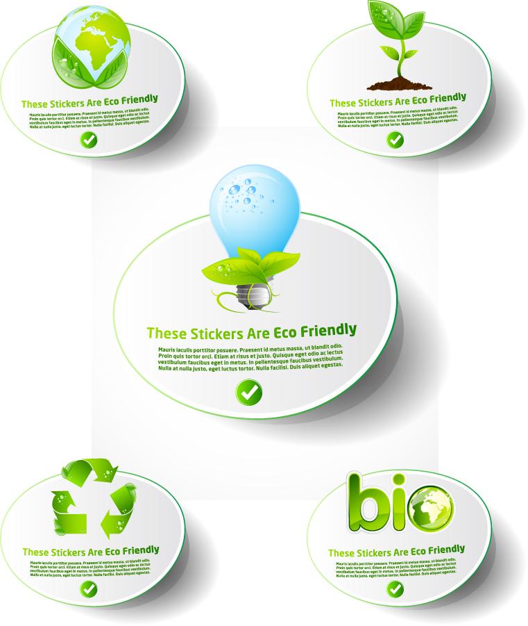 低炭素社会をテーマにしたラベルデザイン Green lowcarbon living icon イラスト素材