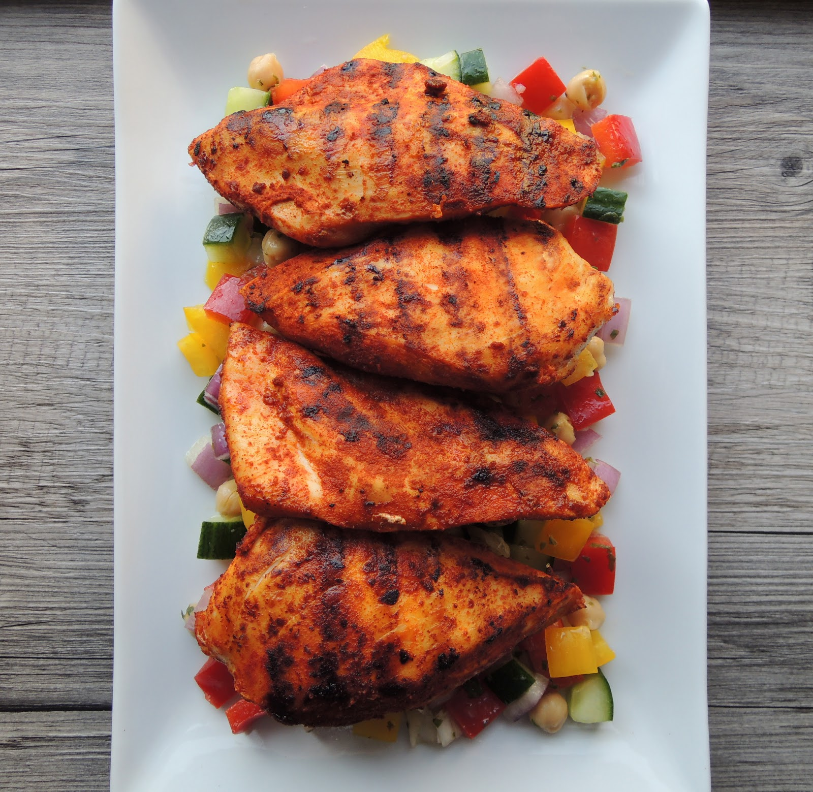 smoked paprika chicken breasts with mediterranean chopped salad for ...