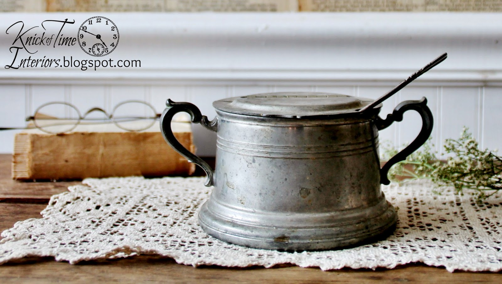 Knick of Time Antique Pewter Sugar Bowl with Hinged Lid