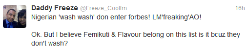 Cool FM OAP Freeze Says forbes is Daft for its  List.