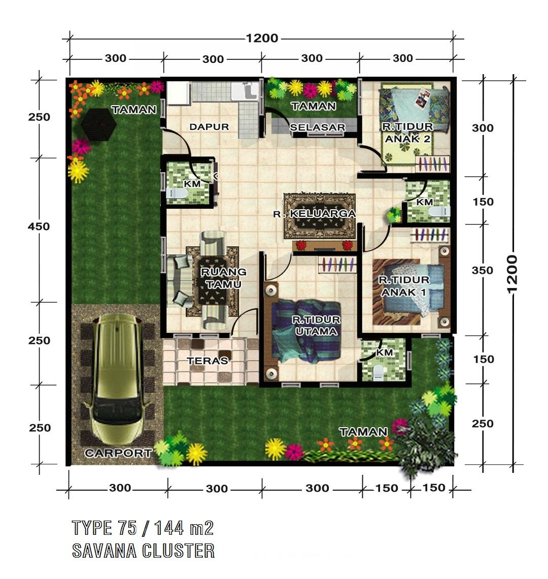 rumah minimalis type 75 144 di kawasan jalan arifin ahmad