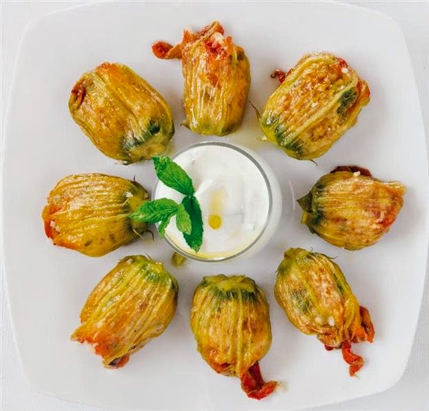 Stuffed Zucchini Flowers, Monastic Recipe, Mediterranean Diet, Monastic Recipes of Holy Mount Athos,