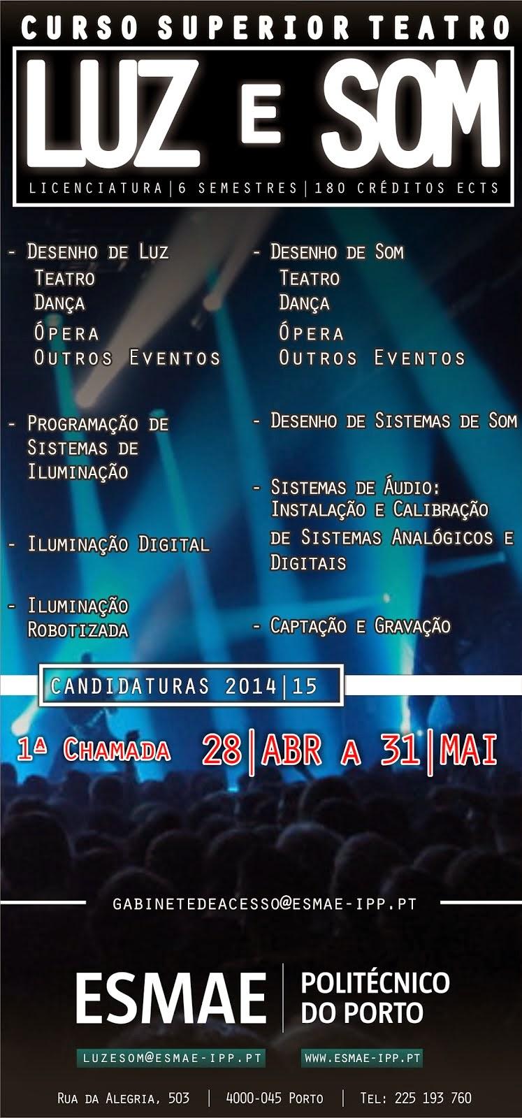 Candidaturas 2014-2015 - Licenciatura em Luz e Som