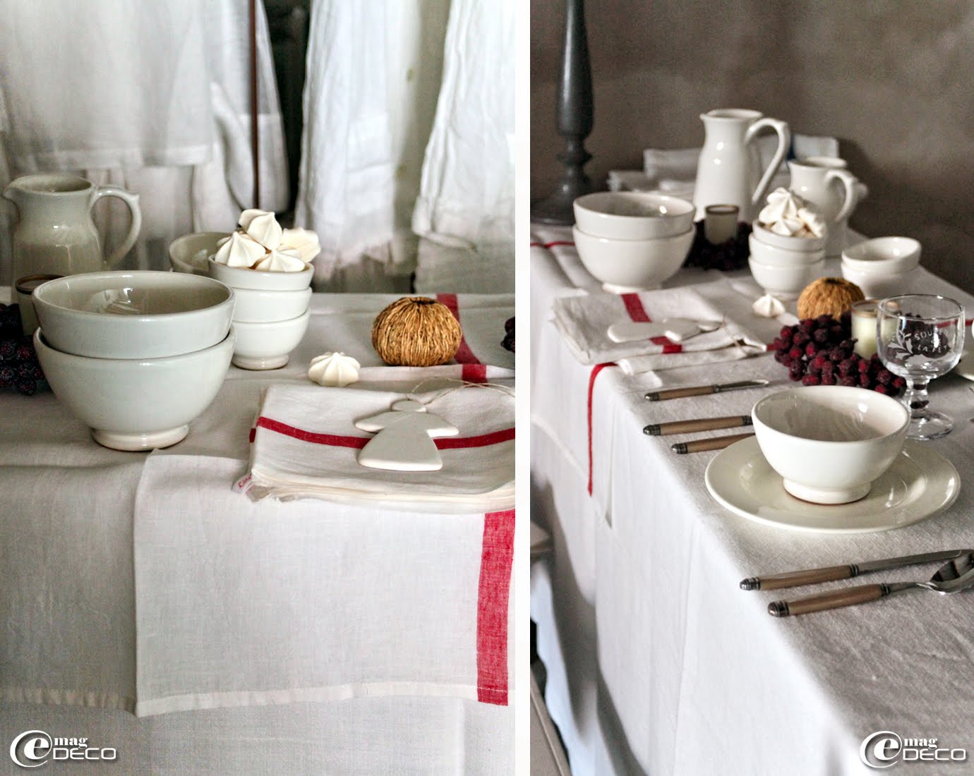 La table est dressée pour un petit-déjeuner gourmand : bols et pichets en émail blanc, sujet de fête Ange et verre Souvenir de la fête, Côté Bastide