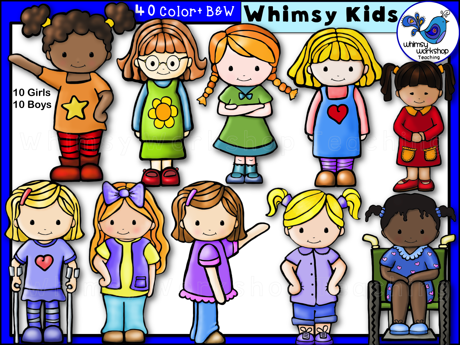 Whimsy Kids Clip Art Bundle