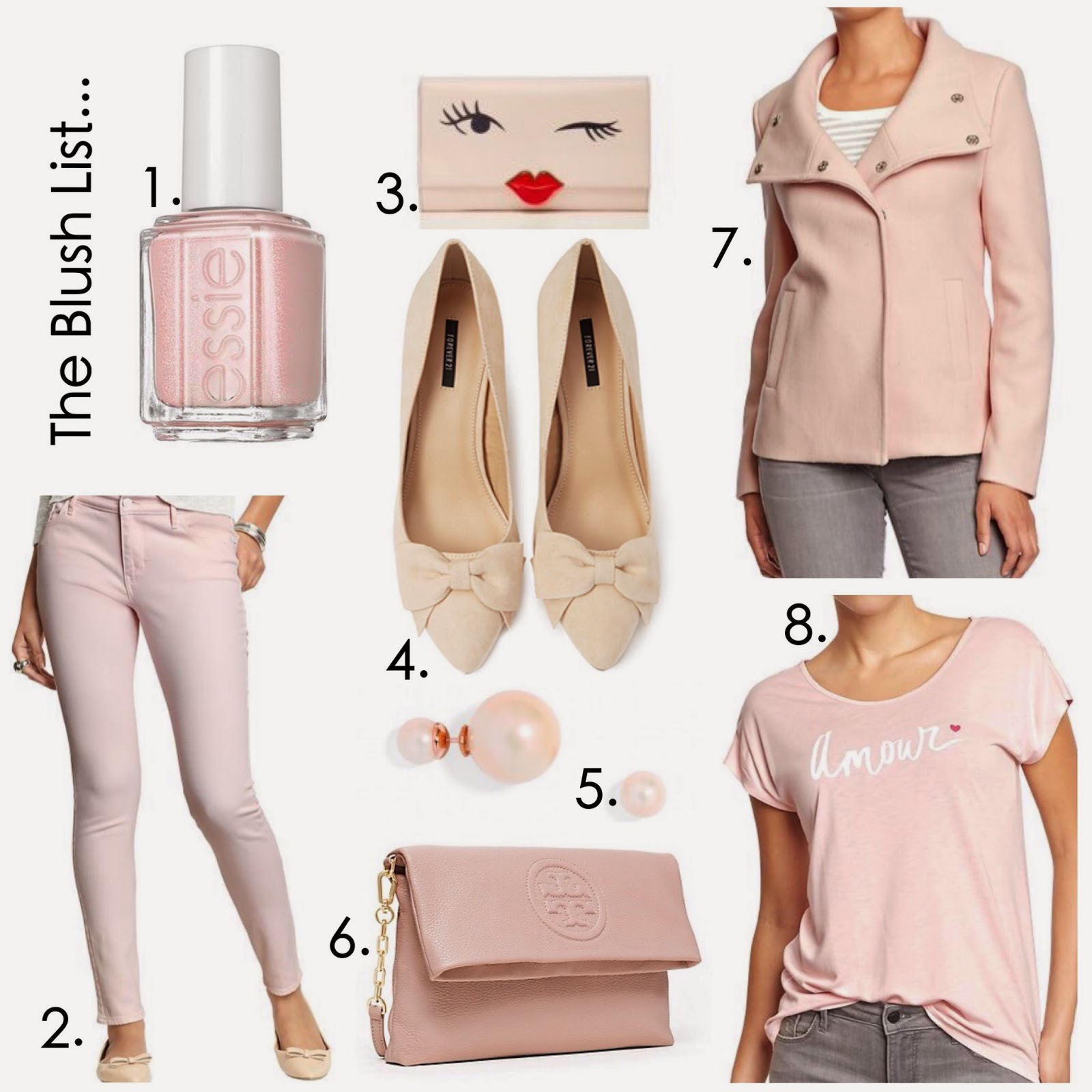 The Blush list, cute blush items collage, old navy blush tee, old navy blush skinny jeans, blush coat, blush bow pumps, forever 21 bow pumps, baublebar earrings pearl, tory burch blush clutch, kate spade wink clutch, san diego style blogger, san diego fashion blogger, spring fashion 2015, spring 2015 pastel collage