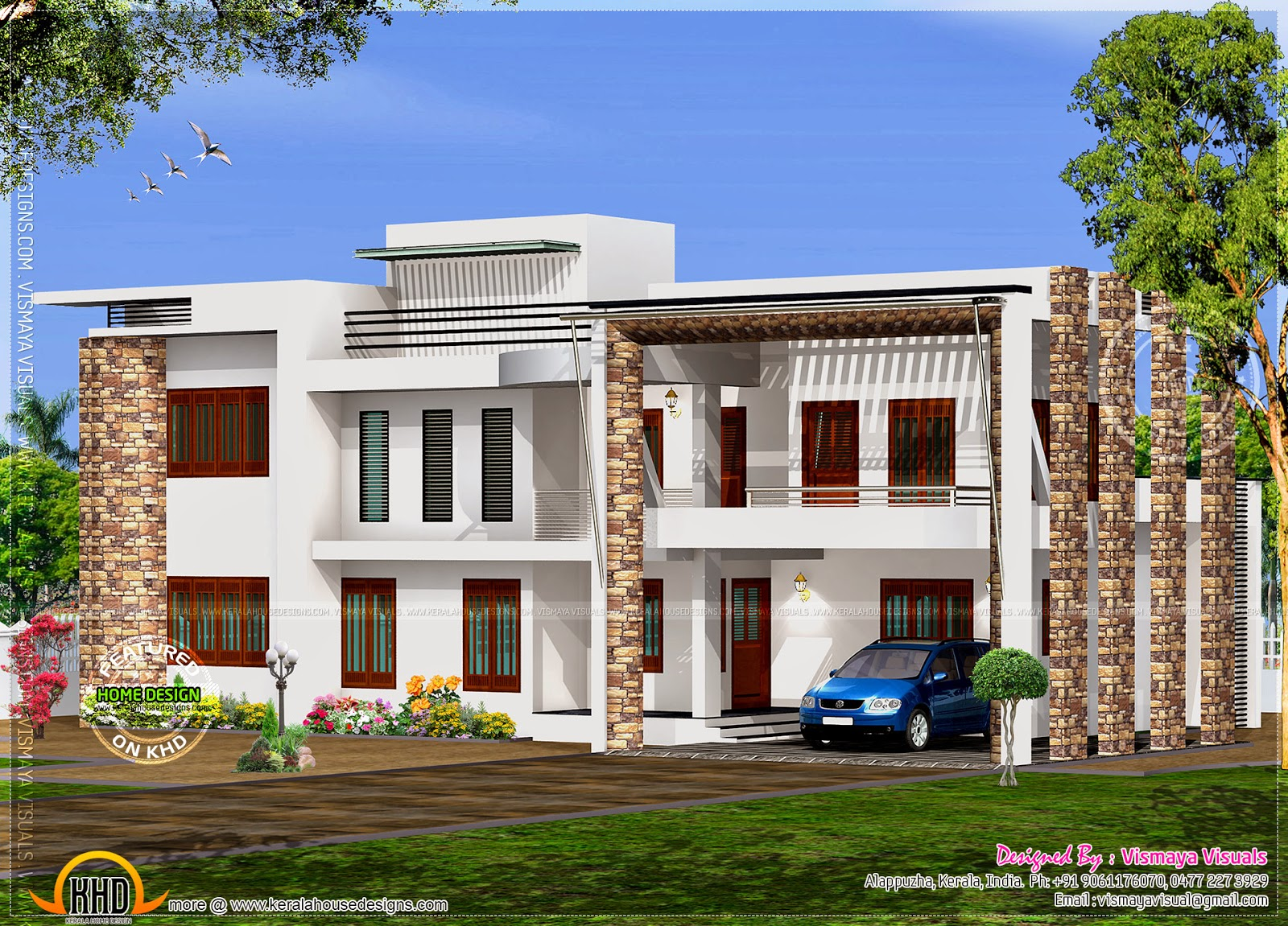 Simple contemporary home plan home kerala plans for Simple modern house design in kerala