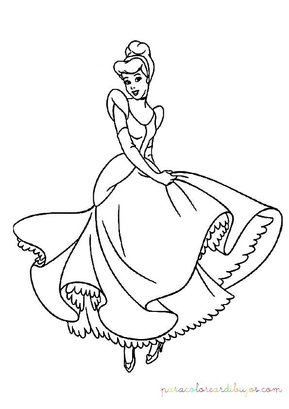 colorear dibujo de princesa cenicienta