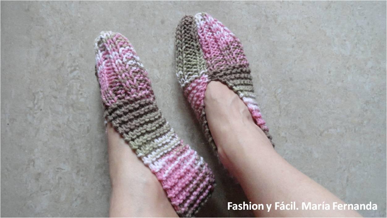 Fashion y f cil c mo tejer unos slippers o pantuflas - Como hacer calcetines de lana a dos agujas ...