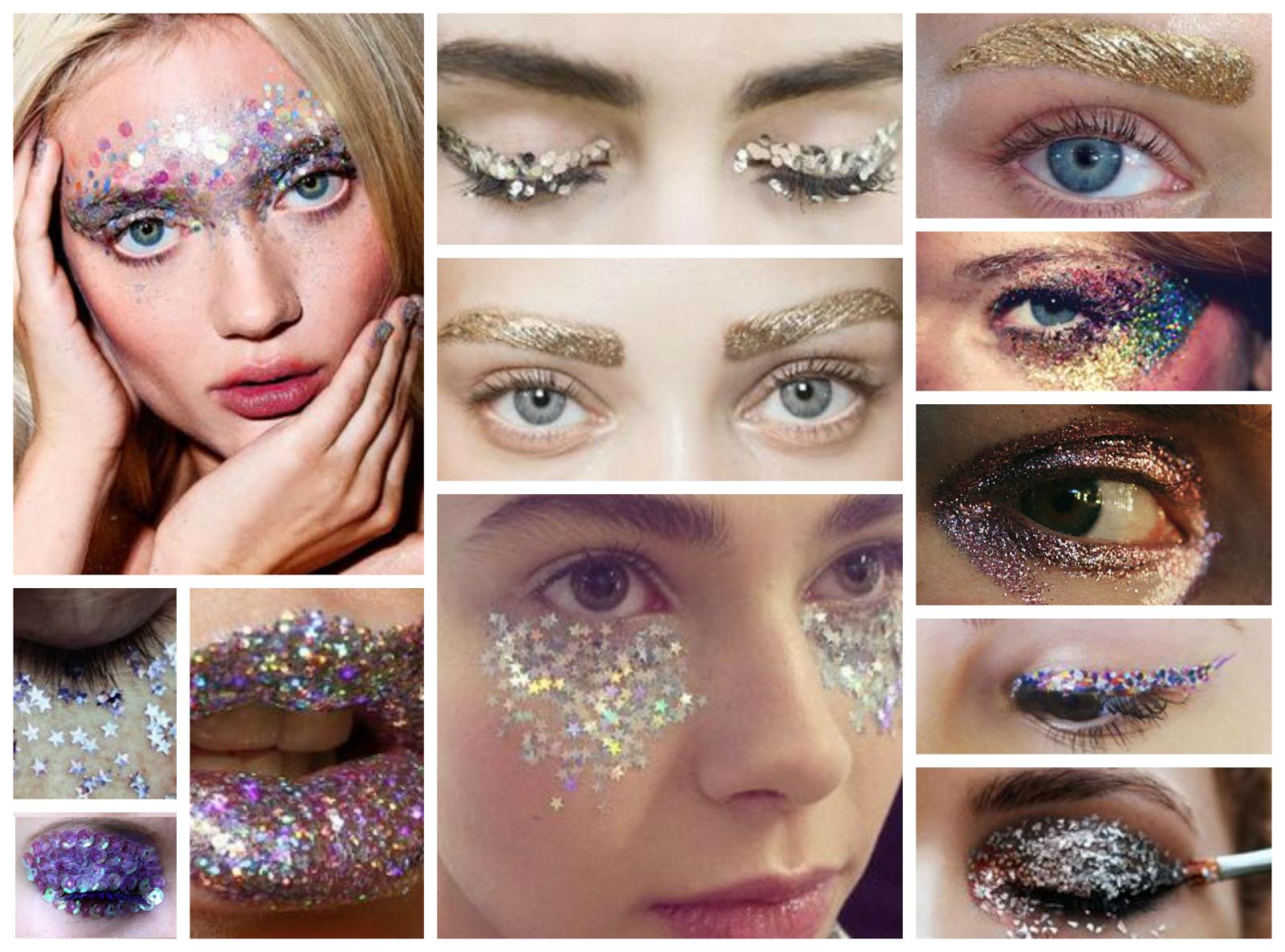 Glitter eye makeup festival glitter and sequinned festival makeup