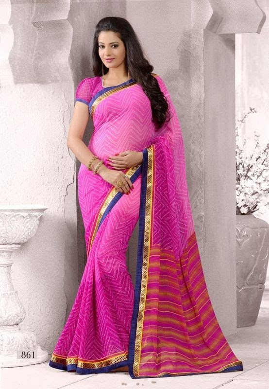 Pink Georgette Casual Saree With Resham Lace Border