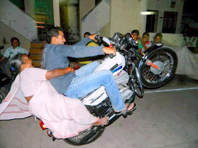 Super Bike Wheeling with Grand Ma on Back Side - Funny Indian Pic