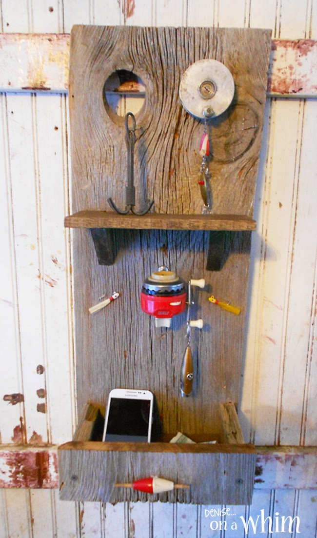 Fishing Reel Key Hook & Organizer Made from Barn Wood from Denise on a Whim