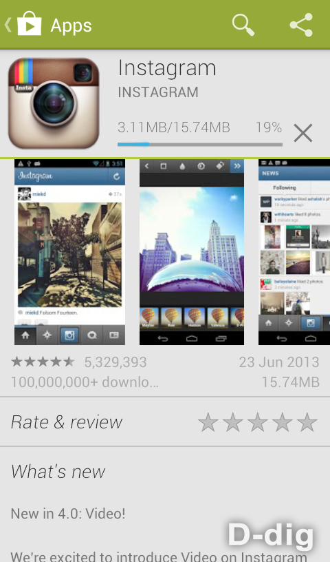 Gambar 5. Proses download software Instagram