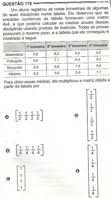 Exercício Resolvido Enem 2012 - Questão 178 (caderno amarelo - 2º dia)