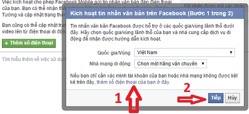xác nhận tài khoản Facebook 1
