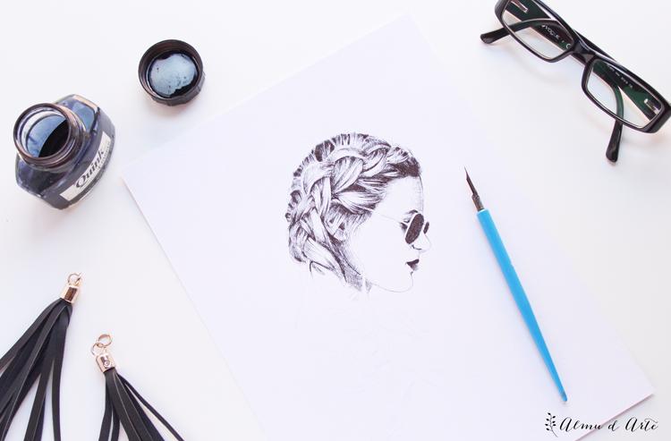 Retrato a plumilla en blanco y negro