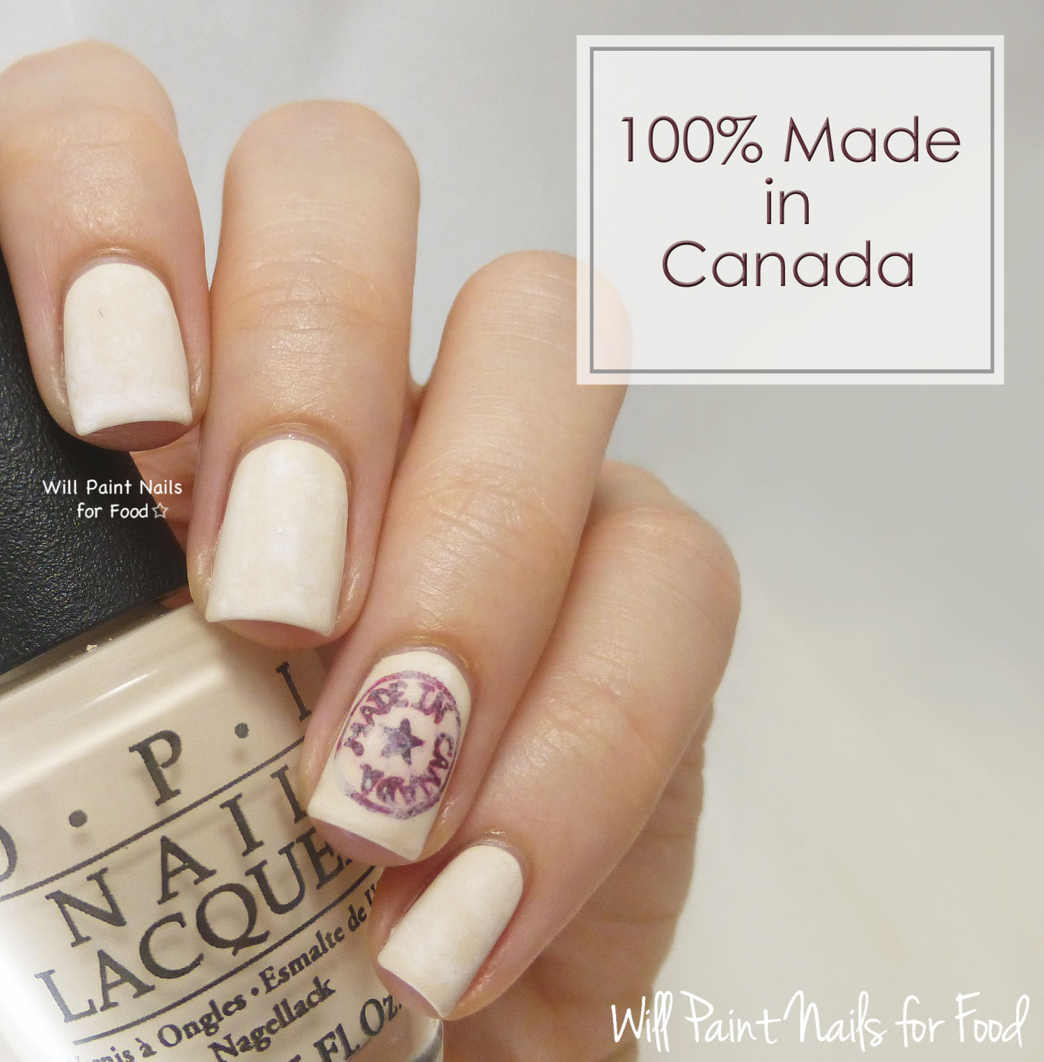 Made in Canada logo nail art