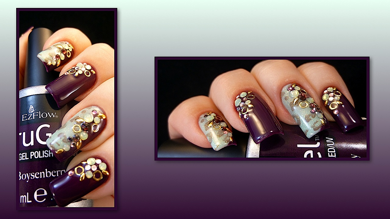 http://tenlittlecanvases.com/2013/12/26/weekly-mani-purple-and-green/