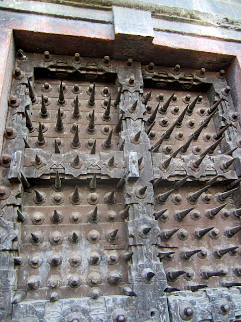 iron spikes of ancient door